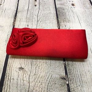 Free Red Satin Clutch Roses with Shoulder Strap
